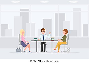 Coworkers at sales meeting in office interior workplace man and woman vector illustration. Business colleagues sitting at desk, discussing, talking, making solutions cartoon character