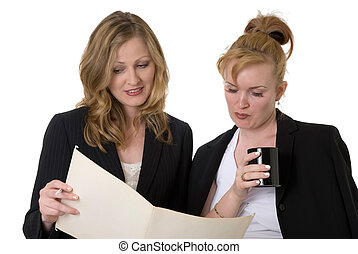 Coworkers discussing a file - two business women standing...