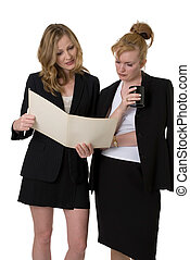 Coworkers going over a file - two business women standing...