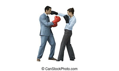 Coworkers in slow motion boxing with gloves