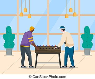Coworkers Playing Table Football at Work Vector