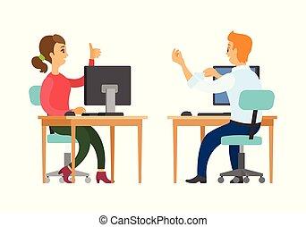 Coworkers Talking at Work, Woman and Man at Job