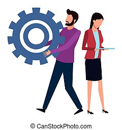 Coworkers man with big gear and businesswoman using tablet teamwork cartoon vector illustration graphic design