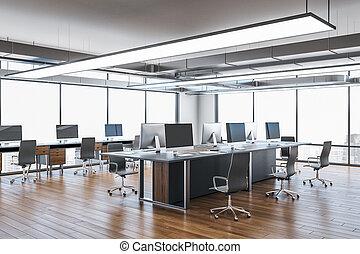 coworking, δωμάτιο , πόλη , γραφείο , βλέπω , σύγχρονος