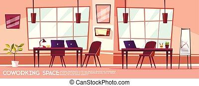 coworking, ベクトル, 部屋, 等大, オフィス