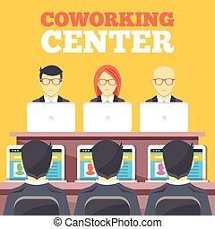 coworking, 中心, 平ら, イラスト