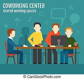 coworking, 中心, 概念