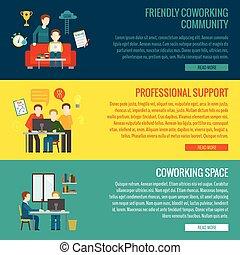 coworking, banner, zentrieren