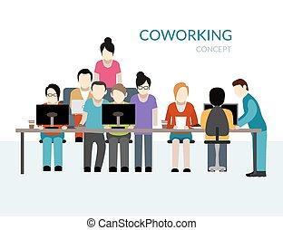 coworking, begriff, zentrieren
