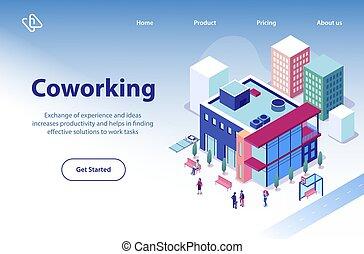 Coworking Business Center Isometric Vector Website
