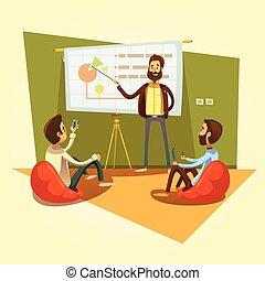 coworking, caricatura, ilustración