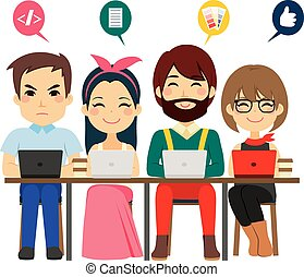 Concept of coworking center with people of different professions talking and working as team with laptops