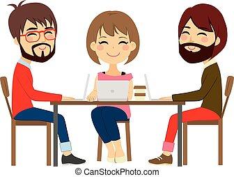 coworking, centrum, mensen