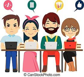 coworking, centrum, team
