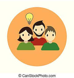Coworking collaboration idea flat on white background