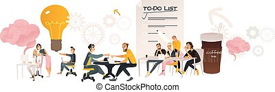 Coworking communication vector illustration horizontal banner in cartoon style.