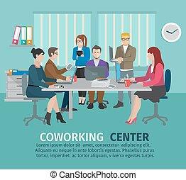 coworking, conceito, centro