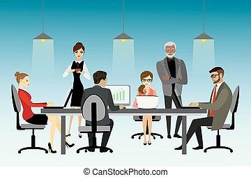 coworking, concept., vetorial, centro, ilustração