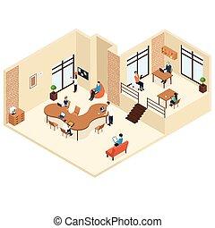 coworking, concepto, isométrico, centro