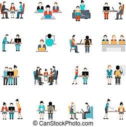 coworking, conjunto, espacio, iconos