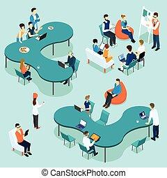 coworking, conjunto, isométrico, gente