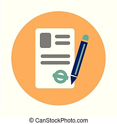 Coworking contract flat on white background