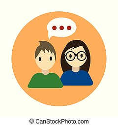 Coworking conversation flat on white background