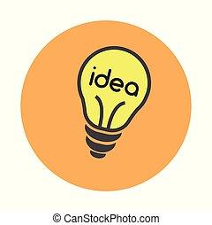 Coworking idea bulb flat on white background