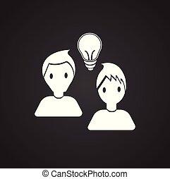 Coworking idea bulb on black background