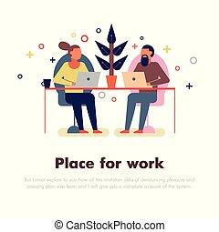 coworking, illustrazione, persone