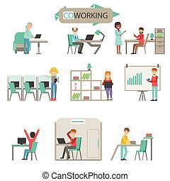 Coworking In Modern Open Space Office Infographic Illustration Set. Smiling Office Workers In Comfortable Working Environment Simple Cartoon Drawings On White Background.