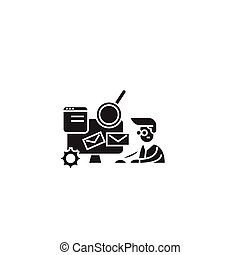 Coworking office black vector concept icon. Coworking office flat illustration, sign