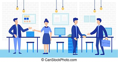 Coworking open space with creative office people. Business team working together vector illustration