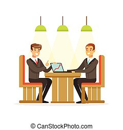 Coworking people exchanging ideas and experience at business meeting sitting at a cafe vector Illustration