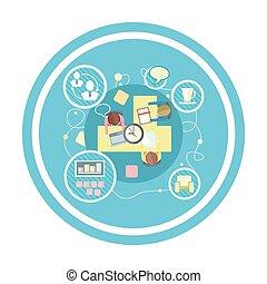 coworking, reunião, concept., negócio