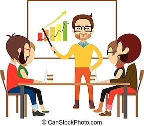 coworking, reunión, colaboración, gente