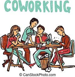 Coworking Sketch Illustration