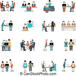 Coworking space flat icons set with freelancer working place isolated vector illustration