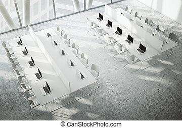coworking, spazio, con, pavimento concreto