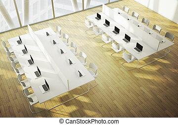 coworking, spazio, con, pavimento legno