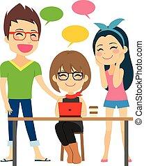 coworking, trabajo, discutir
