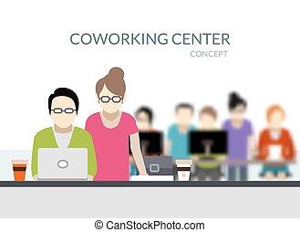 coworking, zentrieren, zusammensetzung