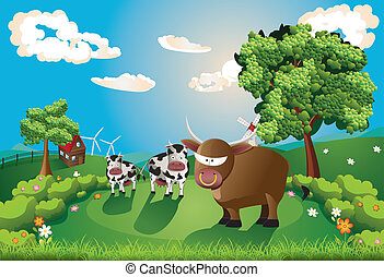 Cows and Bull on Lawn
