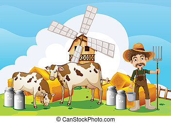 Cows at the farm - Illustration of the cows at the farm