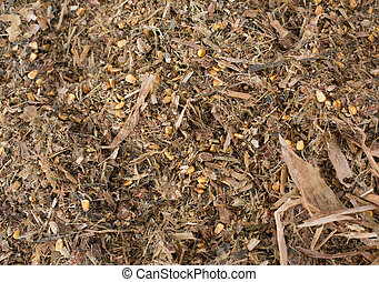 Cow's feed silage - Close up of silage pile. Cattle feed as...