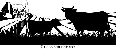 Cows field concept - Cows in silhouette standing in the...