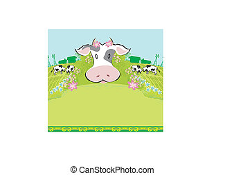 Cows graze in the meadow - abstract  funny illustration