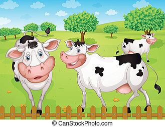 cows grazing in farm - illustrtion of cows grazing in green...