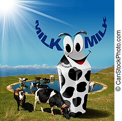 Cows Grazing with Milk Beverage Carton - Cows grazing in the...