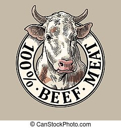 Cows head. 100 % beef meat lettering. Vintage vector engraving